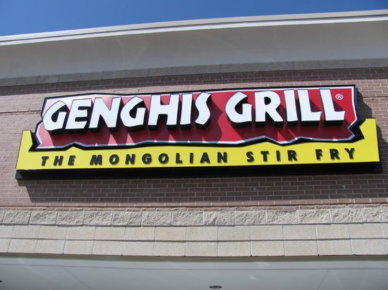 Genghis Grill: Signage in front
