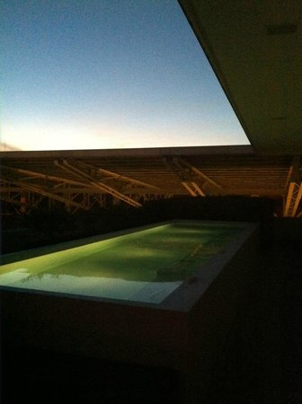 La Purificadora: View of the rooftop pool lit up at night.