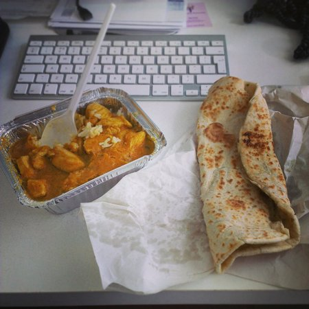 Rice N Three: Medium Chicken Curry, rice & garlic naan takeout - wowzers