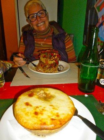 Techado Negro: tower of brown rice and veggies, and homemade chicken pot pie!!