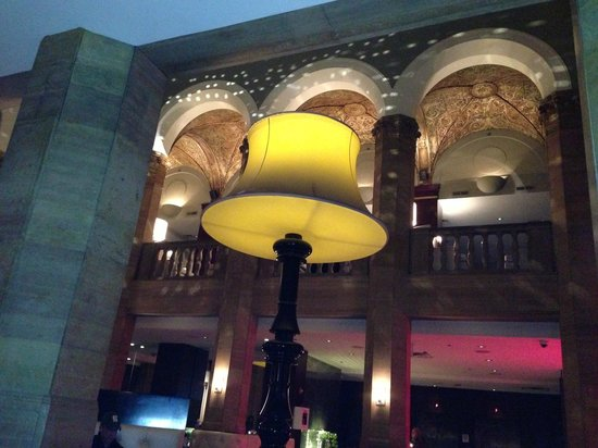 W Chicago - City Center: The Living Room Bar, Two Story Lamps