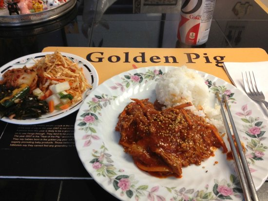 Jop chae with beef rice and side picture of golden for Authentic korean cuisine