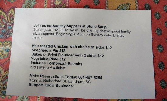 Stone Soup Market & Cafe: Sunday Supper Flyer.