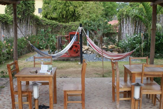 Pedasito Hotel : Tables and Chairs and hammocks in the yard
