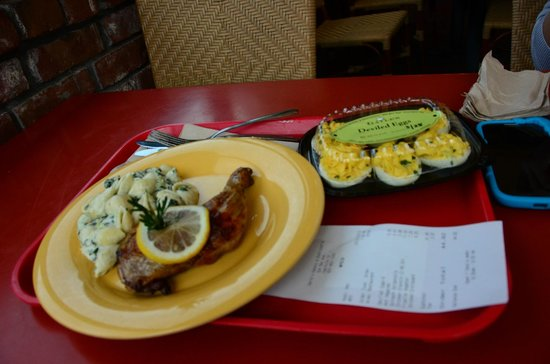 Gayle's Bakery & Rosticceria: Pricey rosemary chicken & deviled eggs