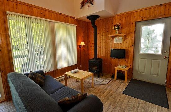 Chalet Camping Domaine Des Dunes: Salon Avec Poêle à Bois