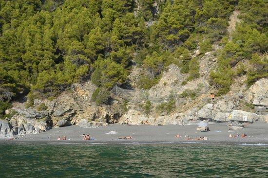 Spiaggia di Punta Corvo dal mare