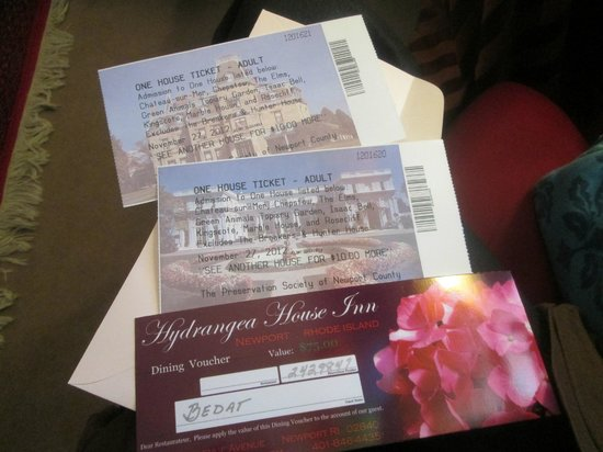 Hydrangea House Inn: Bonus! Admission to Mansion tours and A dinner voucher!
