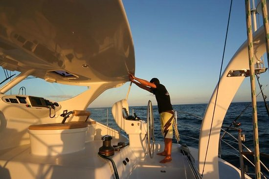 NZ Yachts 4 Charter: Captain Jamie at the wheel