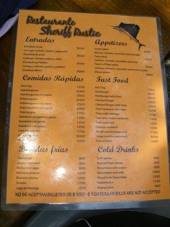 Sheriff Rustic : part of the menu
