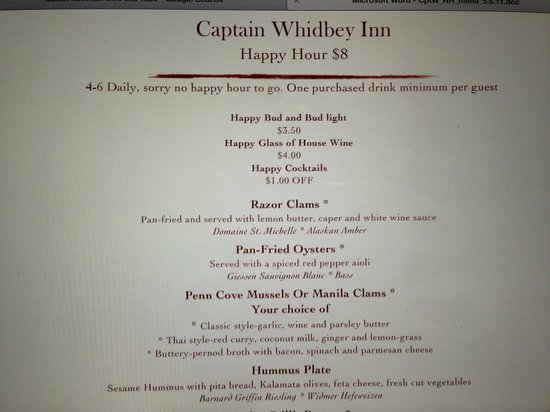 """The Captain Whidbey Inn Restaurant : Nice looking menu.  Unfortunately """"daily"""" does not include Monday, Tuesday or Wednesday =("""