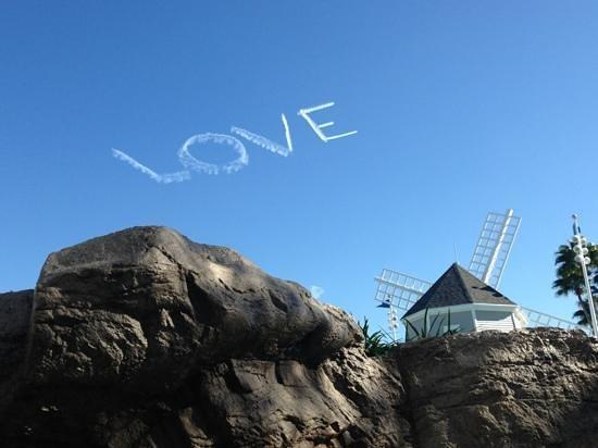 Disney's Beach Club Resort: skywriting from hot tub