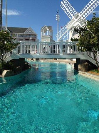 Disney's Beach Club Resort: pool bridge and windmill