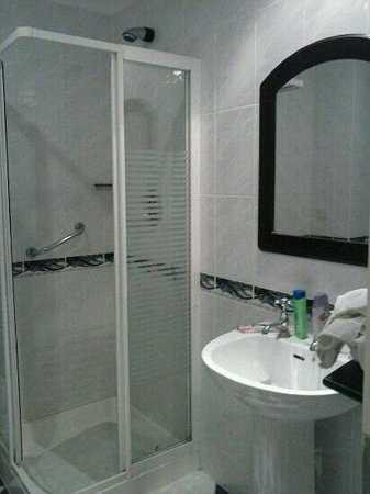 Twin Trees Hotel: shower and sink rm 266 downhill house hotel