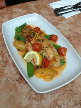 La Vecchia Scuola : The Sea Bass fillet from the lunch menu. 2 courses for just £9.95