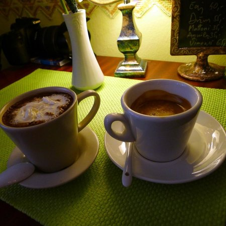 Hot drinks on a cold day at Bon Bon Cafe