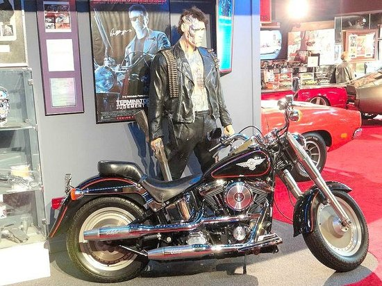 "Hollywood Star Cars Museum: 1991 Harley Fat Boy driven by Arnold Schwarzenegger in ""Terminator 2: Judgement Day"""