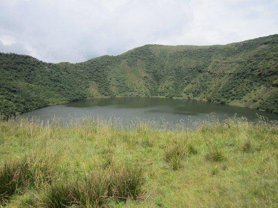 Volcanoes National Park: lake on the top of Bisoke