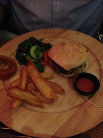 The Fox at Peasemore: Burger and Chips.  Should have put something in picture to show relative size. It wasn't small!