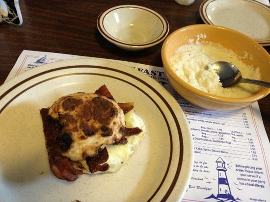 Breakfast Room: English egg muffin and grits...