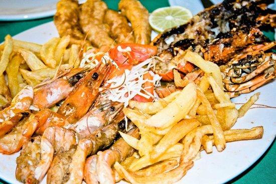 Inhaca, Mosambik: prawns