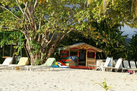 """Nirvana on the Beach : The """"activities"""" hut where rafts and other activity gear is kept."""