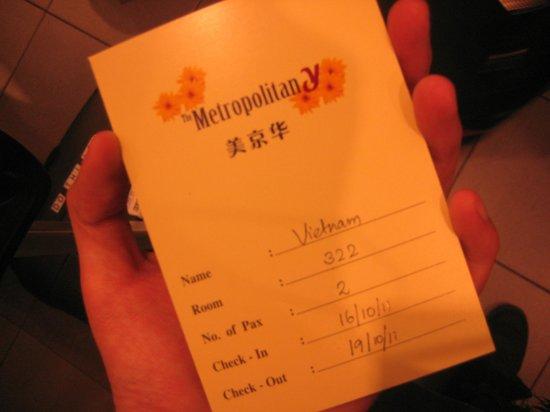 Metropolitan YMCA Singapore : Key