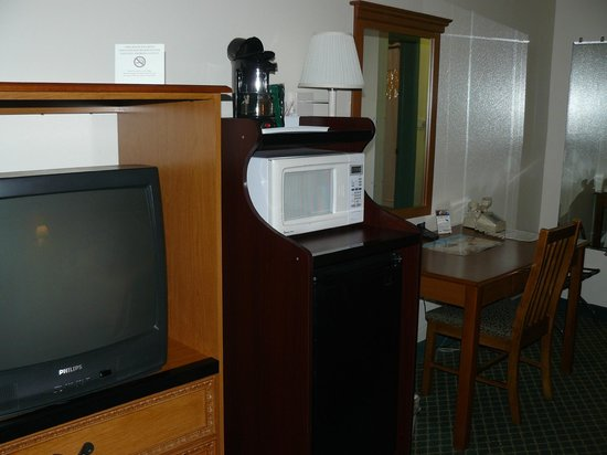 Howard Johnson Inn - Ocala FL: The TV cabinet made it hard to see the TV from the bed.
