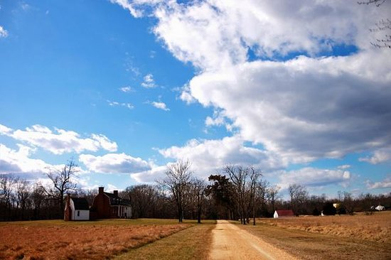 Thomas Stone National Historic Site: Haberdeventure is pictured at left, with barns on the right