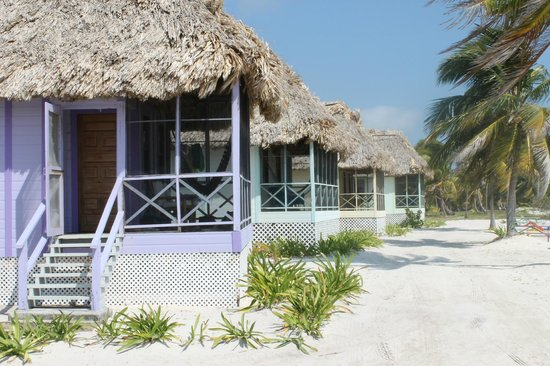 Blackbird Caye Resort: Four bungalos, 14 meters from the shoreline