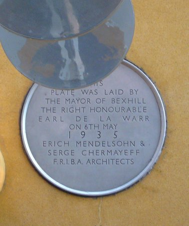 De La Warr Pavilion: Commemorative disc at the bottom of the staircase