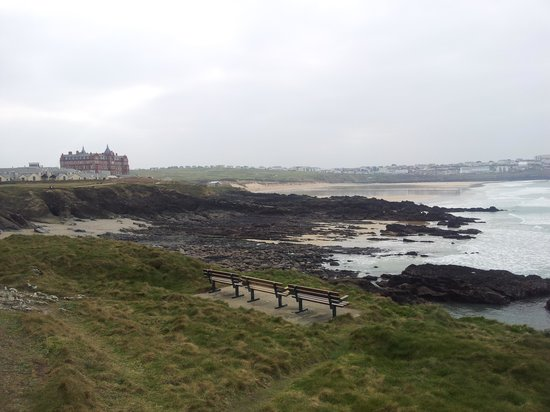 The Headland Hotel & Spa - Newquay: View of the cottages,hotel and beach