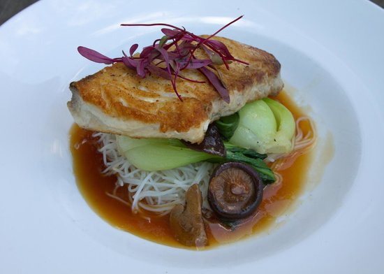 Liv's Oyster Bar: Pan seared Opah over bok choy, roasted shiitake mushrooms, & rice noodles, with a ginger lemongr