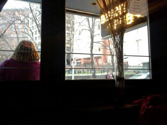 Beantown Pub: the only place where you can drink a Sam Addams will looking out at his gave.