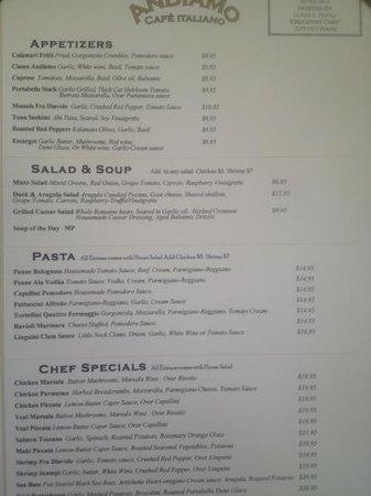 Andiamo Cafe Italiano : menu 3/28/13