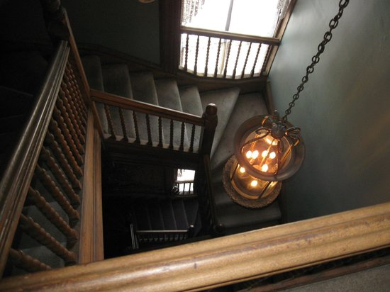 Lemp Mansion Restaurant & Inn: If you take an attic room these stairs lead up.