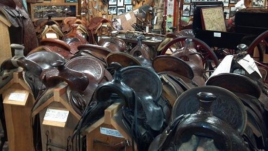 King's Saddlery and Museum: A small portion of the many saddles in this museum.