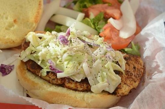 Sunset Grille: Blackened chicken sandwich with slaw, very good.