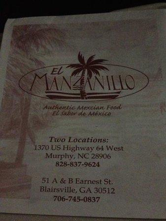 El Manzanillo Mexican Restaurant: menu