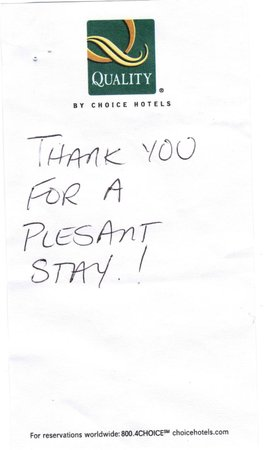 Quality Inn Brunswick Cleveland South: Kinds Words From Our Guest!