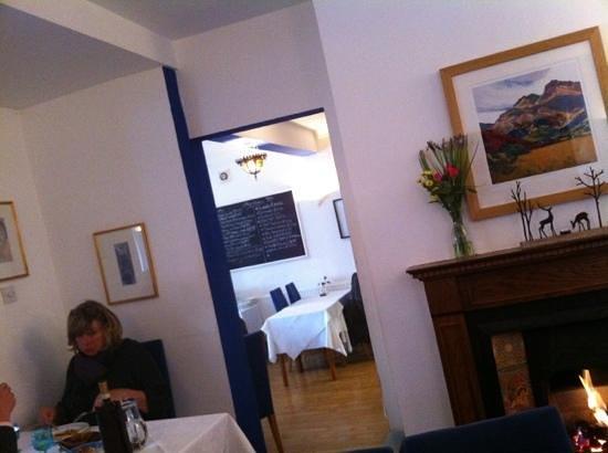 Mediterranean: black board menu in the distance
