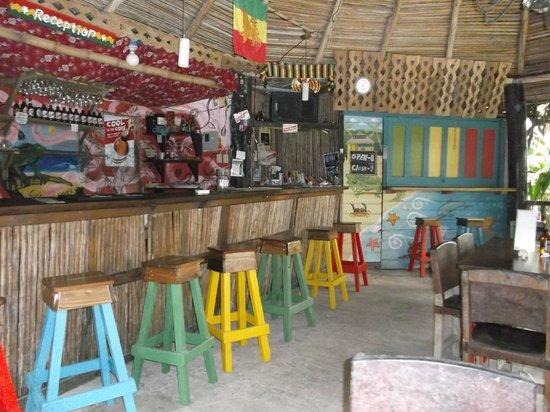 Hostal Mar e Iguana : Bar et réception avec cuisine commune au fond.