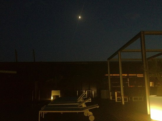 Melia Barcelona Sky: the pool deck at night