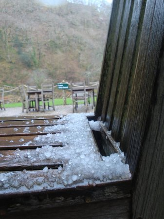 Watersmeet House: Spring-time hailstones!