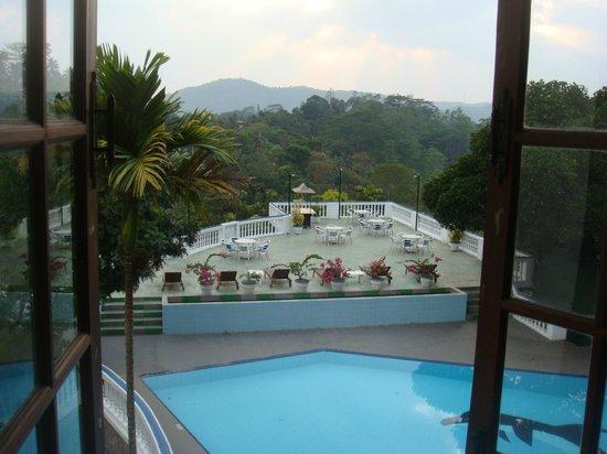 vue sur la terrasse et la piscine