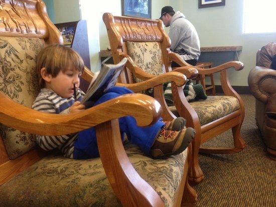Powder Ridge Village: Ben relaxes in community center.