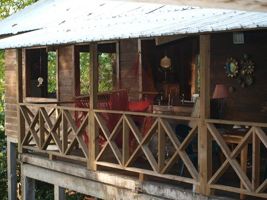 Punta Rica Beach & Jungle Villa : Lovely deck for relaxing, with a ceiling fan and hammock