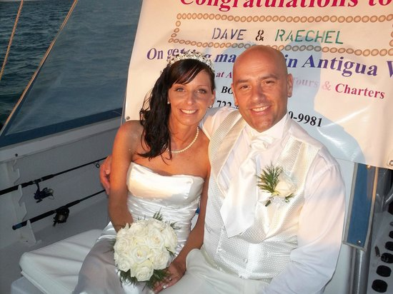 Antigua Boat Tours: Just Picked up Dave & Raechel from Blue Waters Hotel, after their wonderful wedding