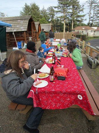 Waldport Newport KOA: We put 2 tables together so our group could eat together
