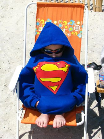 Ocean City Beach: ..My Granson..gave it a shot going in Ocean..Ha! SuperSurfman! Ha! His lips were as blue too..Ki
